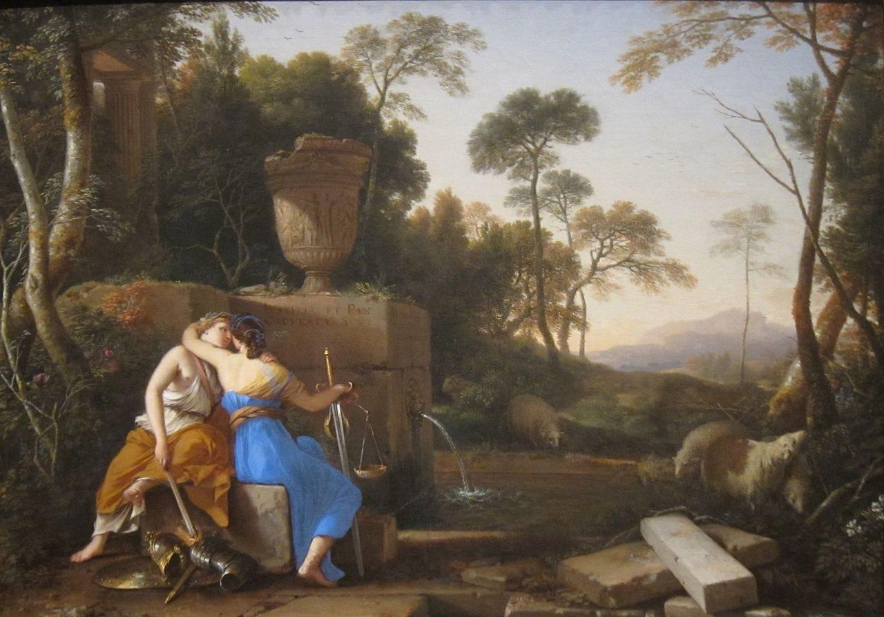 Allegorical painting of Peace kissing Justice by Laurent de La Hyre, 1654