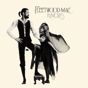 """Mostly cream album cover with black-and-white image of tall, bearded gentleman holding a snow globe in front of a blonde, cape-wearing woman. In the top right-hand corner, it is captioned """"FLEETWOOD MAC"""" and """"RUMOURS"""" below it."""