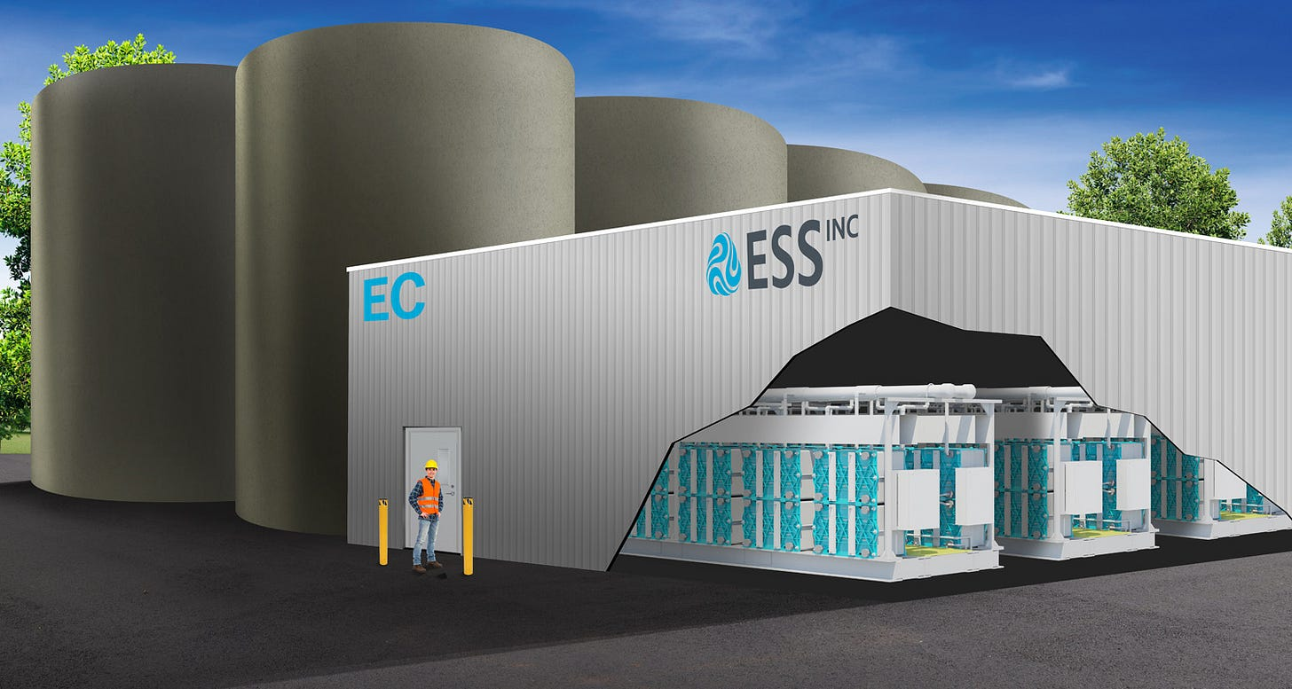 """An ESS flow-battery """"energy center,"""" with giant electrolyte tanks. (ESS)"""