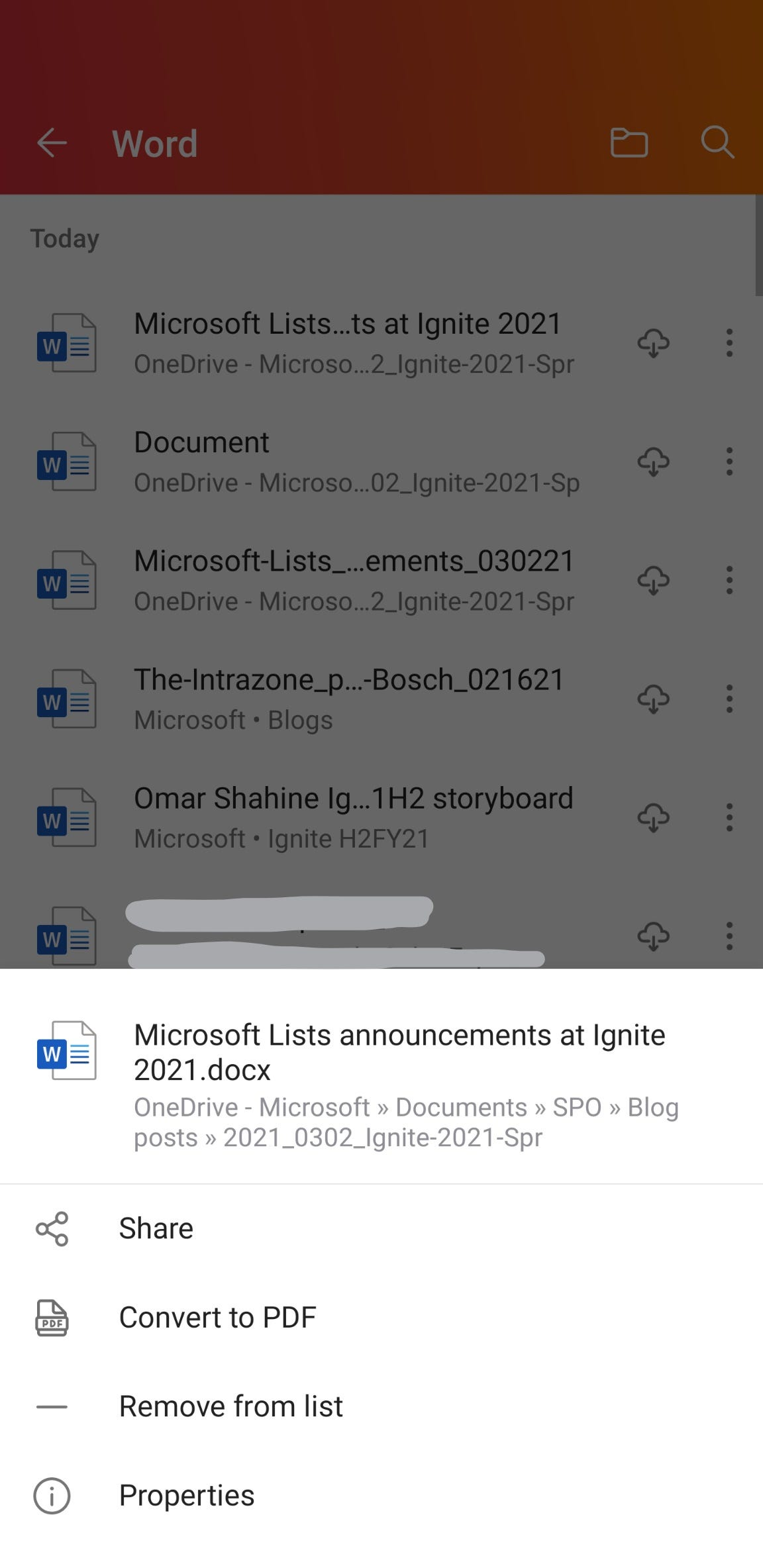Access recent Word documents from within the Office Mobile app.