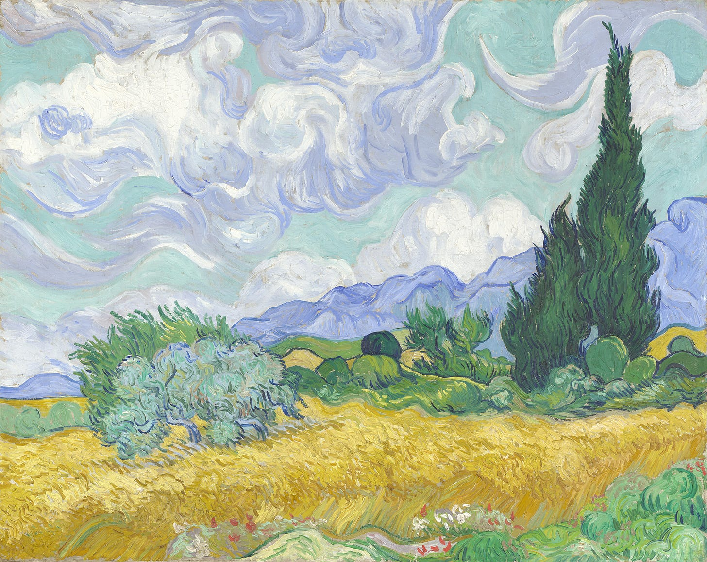A Wheatfield, with Cypresses (September 1889), zoomed in
