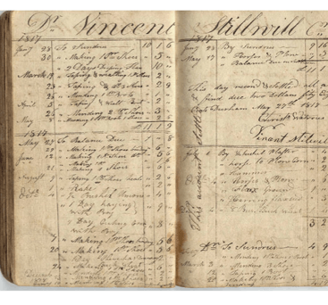 Photo: Christopher Watrous' account book, Debits and Credits for Vincent Stillwill accounts, Durham, Connecticut, 1817