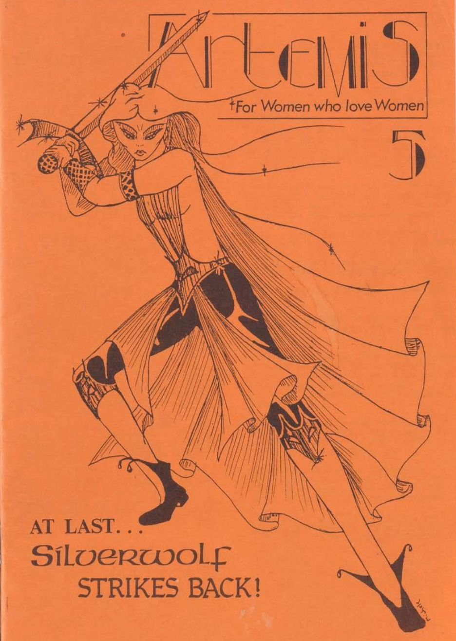 Cover of Issue #5 of Artemis magazine, with a line-drawing illustration of a female warrior wielding a sword.