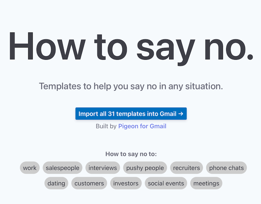 screenshot of website, How to say no. Templates to help you say no in any situation