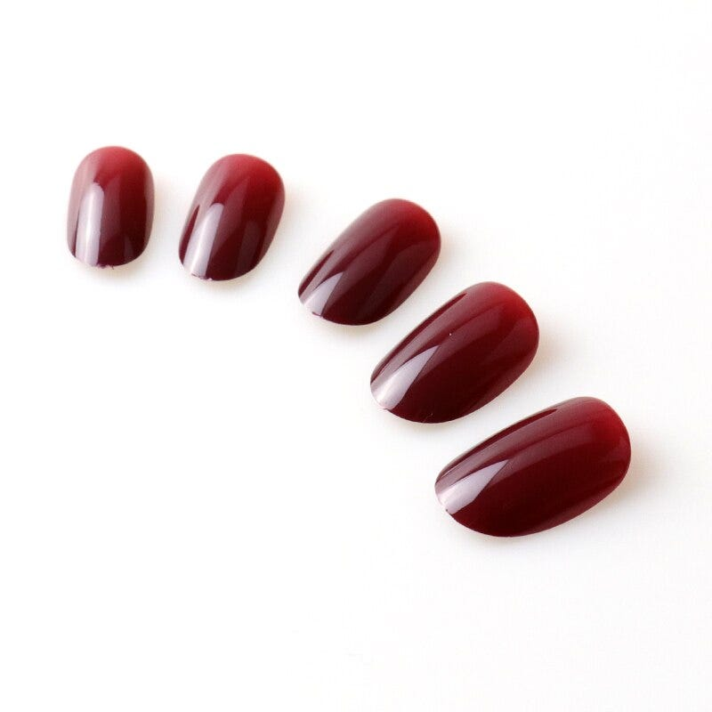 100PC/Fake Nails oval Faux Ongles Press On Nails Full Cover Nails Tips Round Head Cherry Red Wine Red Artificial Fake Nails