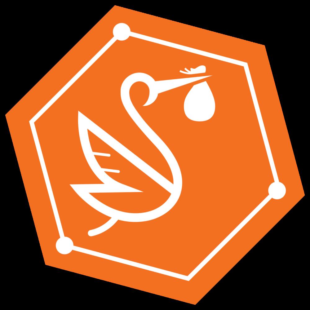 Ledgerback's Logomark of Scout Stork, the most punk stork in the world!