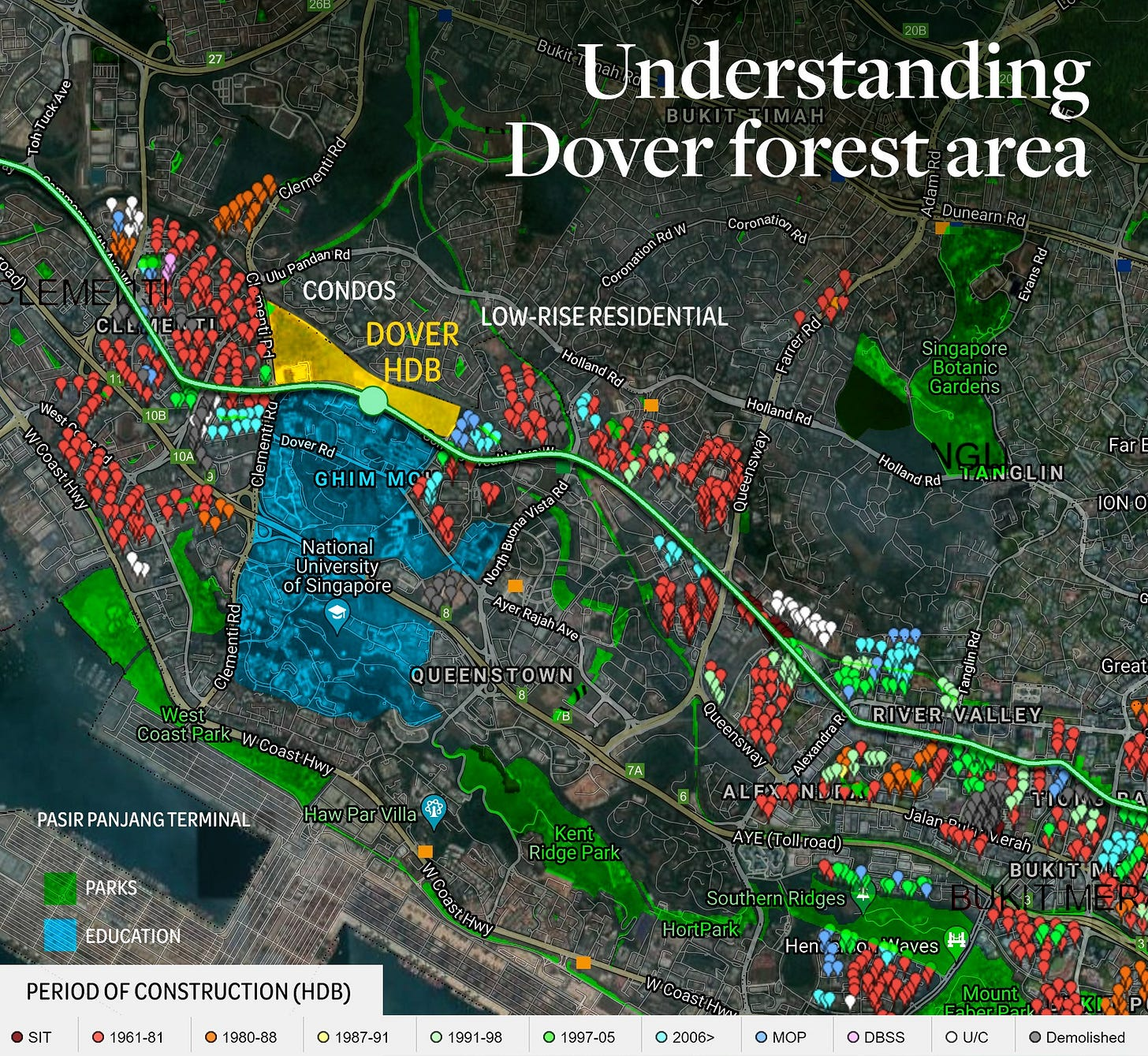 May be an image of map, sky and text that says 'Understanding Dover forest area UluPandan CONDOS DOVER LOW-RISE ERESIDENTIAL HDB Holland Rd GHIMM MC Singapore Botanic Gardens HollandRd National University Singapore Holland Far TANGLIN Ayer Rajah ION QUEENSTOWN අදද PASIRPANJANGTERMINAL Great lPaVll PARKS Queensway RIVERVALLEY Ridge EDUCATION (Toll road) Jalan PERIOD OF CONSTRUCTION (HDB) SIT Merah BUKIT Southe HortPark 1961-81 Ridges 1980-88 • 1987-91 1991-98 1997-05 2006> MOP DBSS OU/C Demolished'