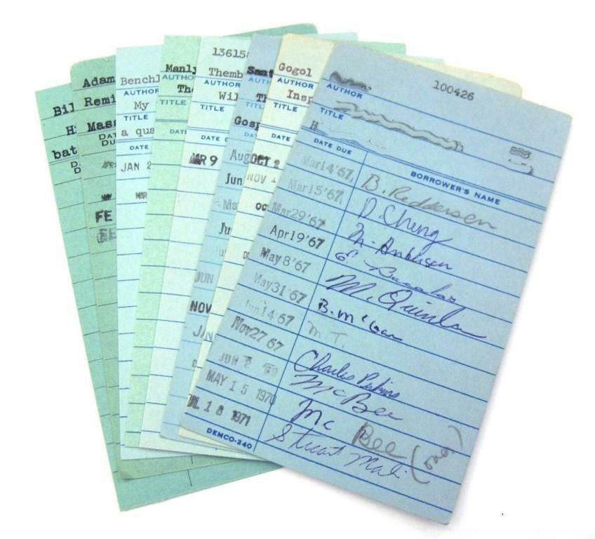 Vintage Library Check Out Cards in Blue Lot of 15 LAST SET