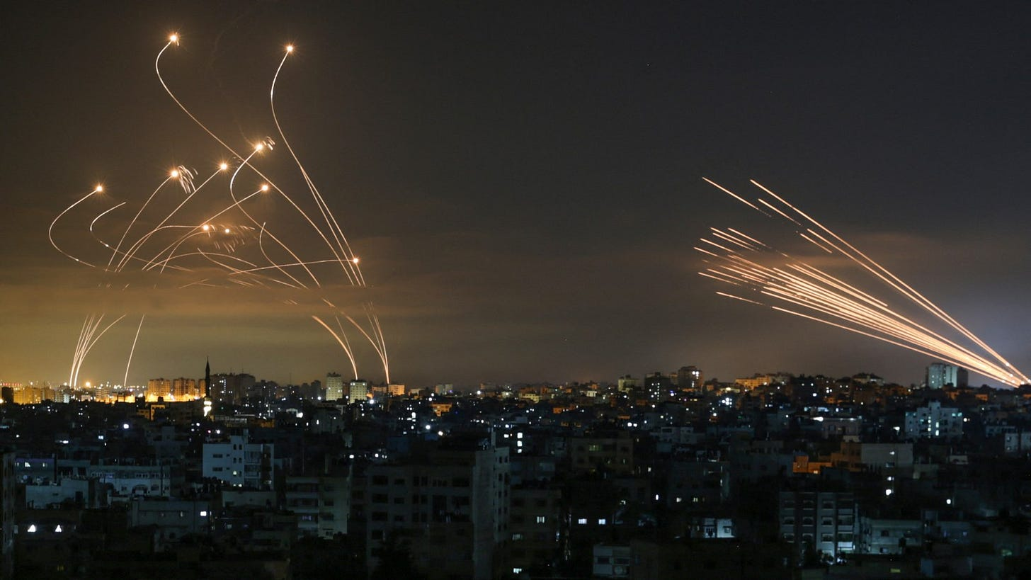 Iconic' Iron Dome Photo Shows Israeli Missiles Countering Rockets From Gaza