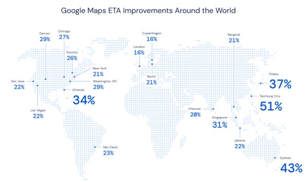 Researchers at DeepMind have partnered with the Google Maps team to improve the accuracy of real time ETAs by using GNNs.