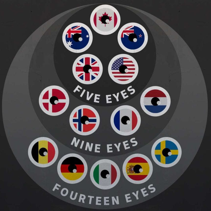 On a black background, you see overlapping circles explaining the members of Five, Nine and 14 eyes countries.