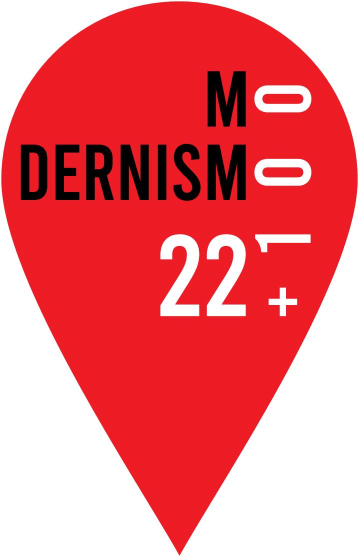 Logotipo do evento Modernismo 22+100, que comemora o centenário da Semana de Arte Moderna de 1922, criado pela Secretaria de Cultura de São Paulo.