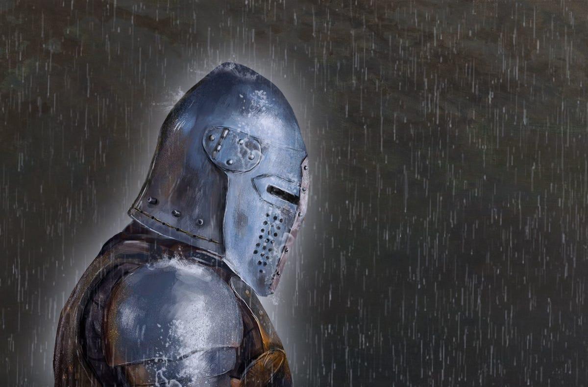 sad knight in rain