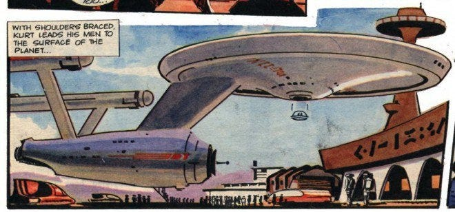 "r/starblecch - TIL there were British Star Trek comics that featured an Enterprise commanded by ""Captain Kurt"" and a Jetsons style shuttle that detached below the saucer section"