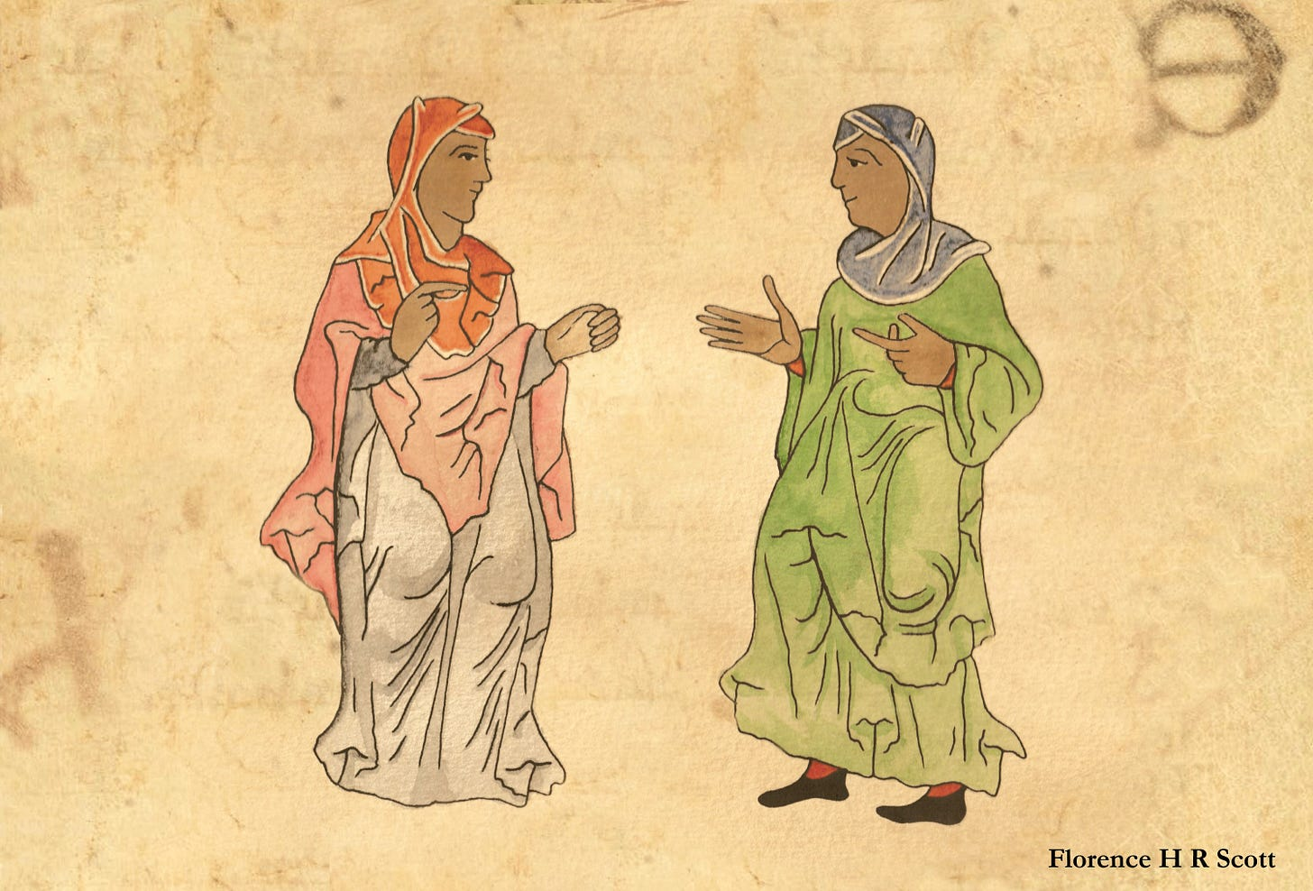 Two Black women illustrated in the style of a tenth-century English manuscript. They are both veiled and facing each other