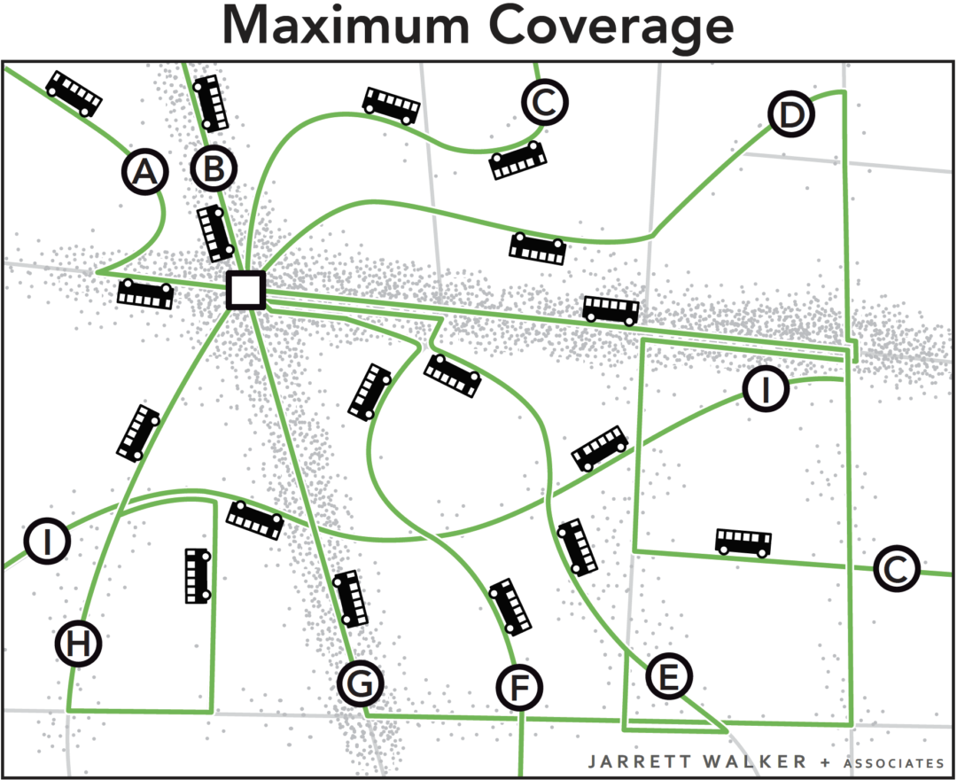 image depicting maximum coverage with many lines and less-frequent buses