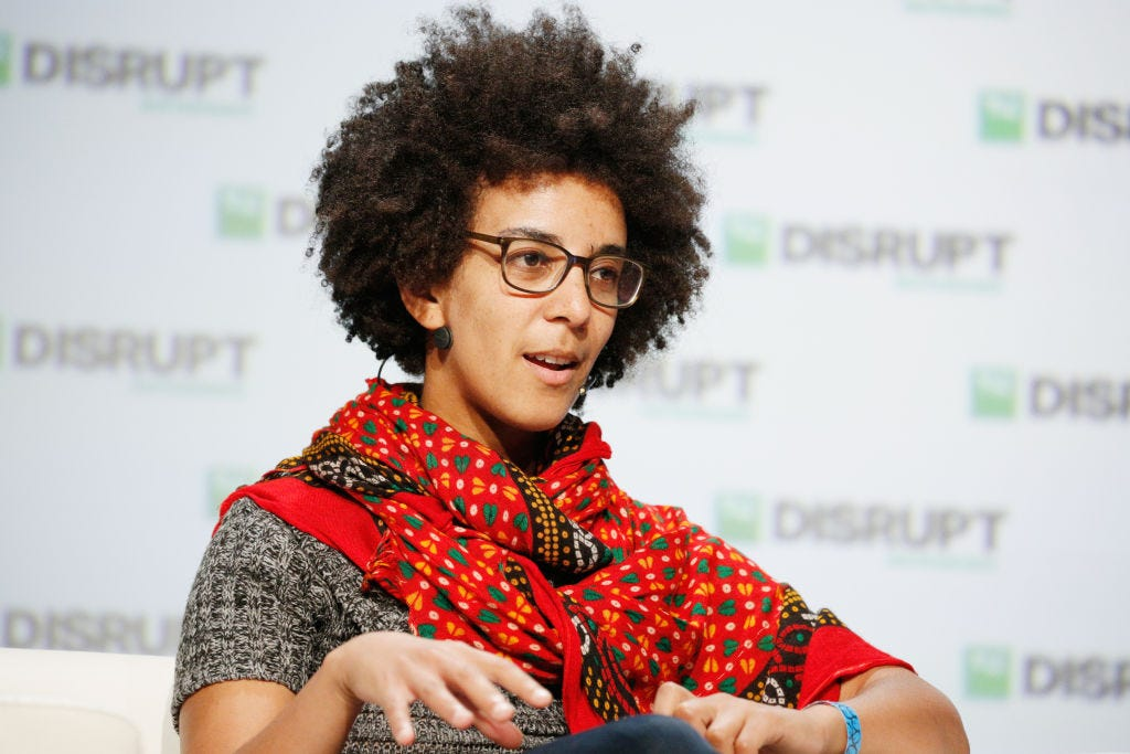 Timnit Gebru, speaking at TechCrunch disrupt in 2018 (Kimberly White/Getty Images)