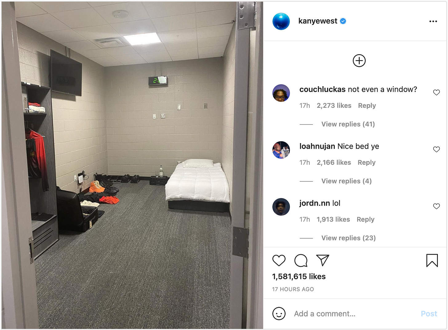 Instagram post of Kanye's room in the Atlanta stadium. It's very small and bare and grim.