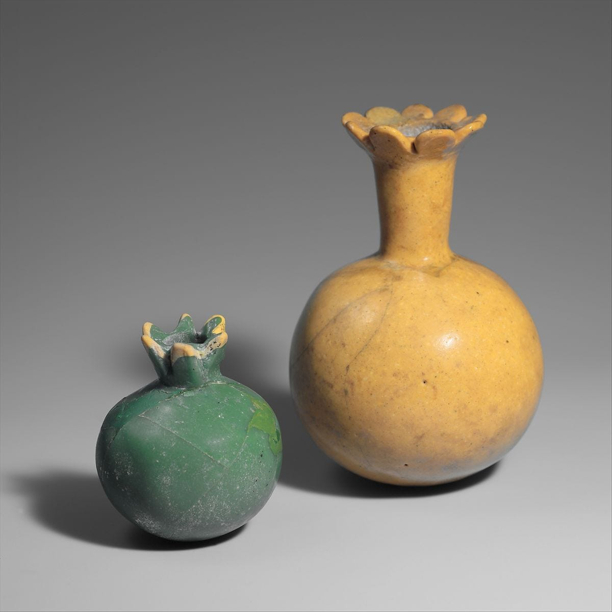 Two Bottles in the Form of Pomegranates, Glass, opaque