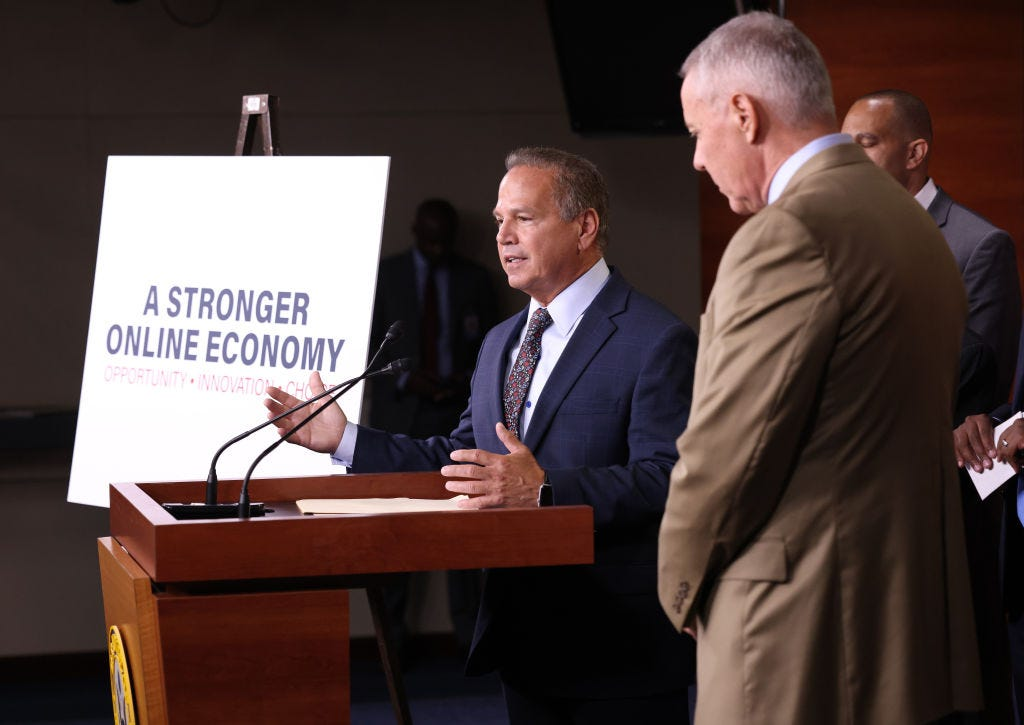 Rep. David Cicilline (D-RI) outlines bipartisan legislation aimed at regulating platforms this month in Washington, DC. (Win McNamee / Getty Images)
