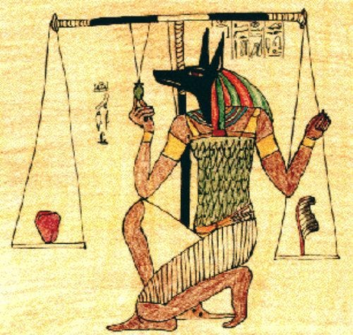 r/ancientegypt - Is Anubis tipping the scale? If not, what is he doing?????