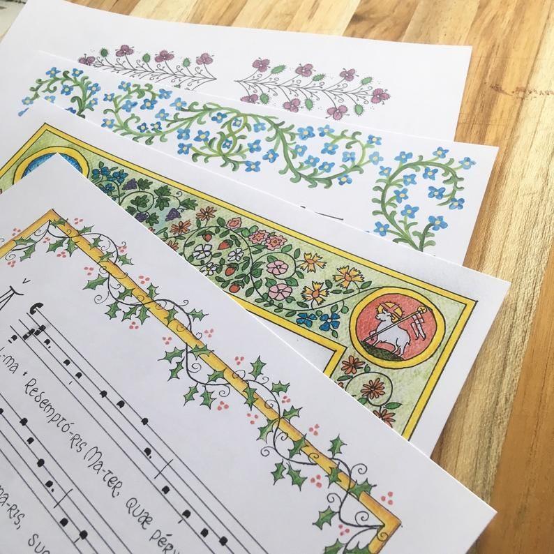 Marian Antiphons print set Latin gregorian chant hymns image 0
