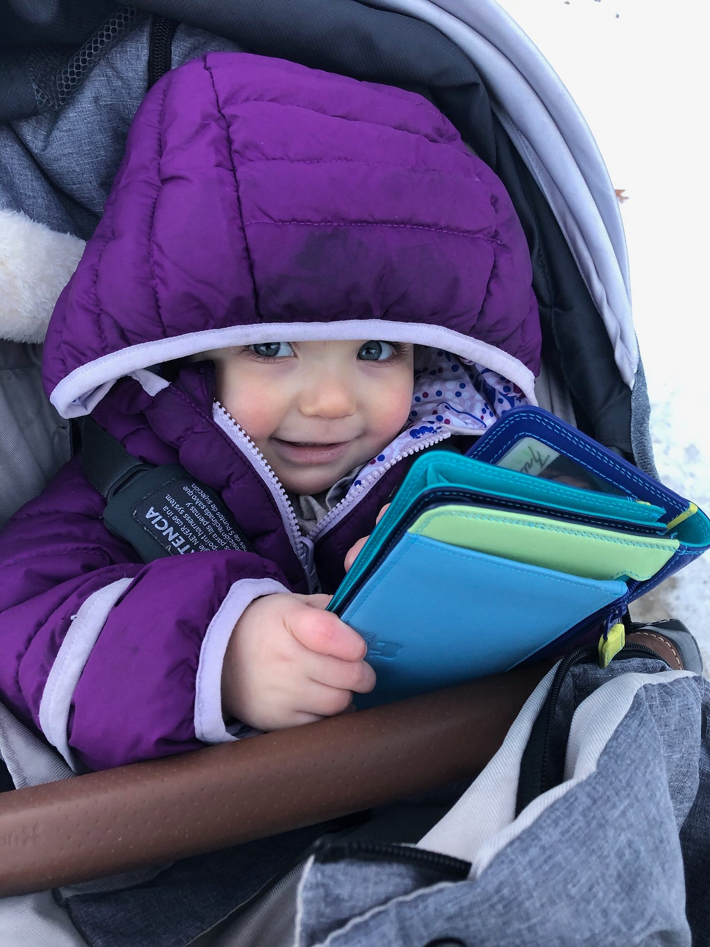 A cute baby in a stroller wearing a snowsuit holding a wallet and smiling