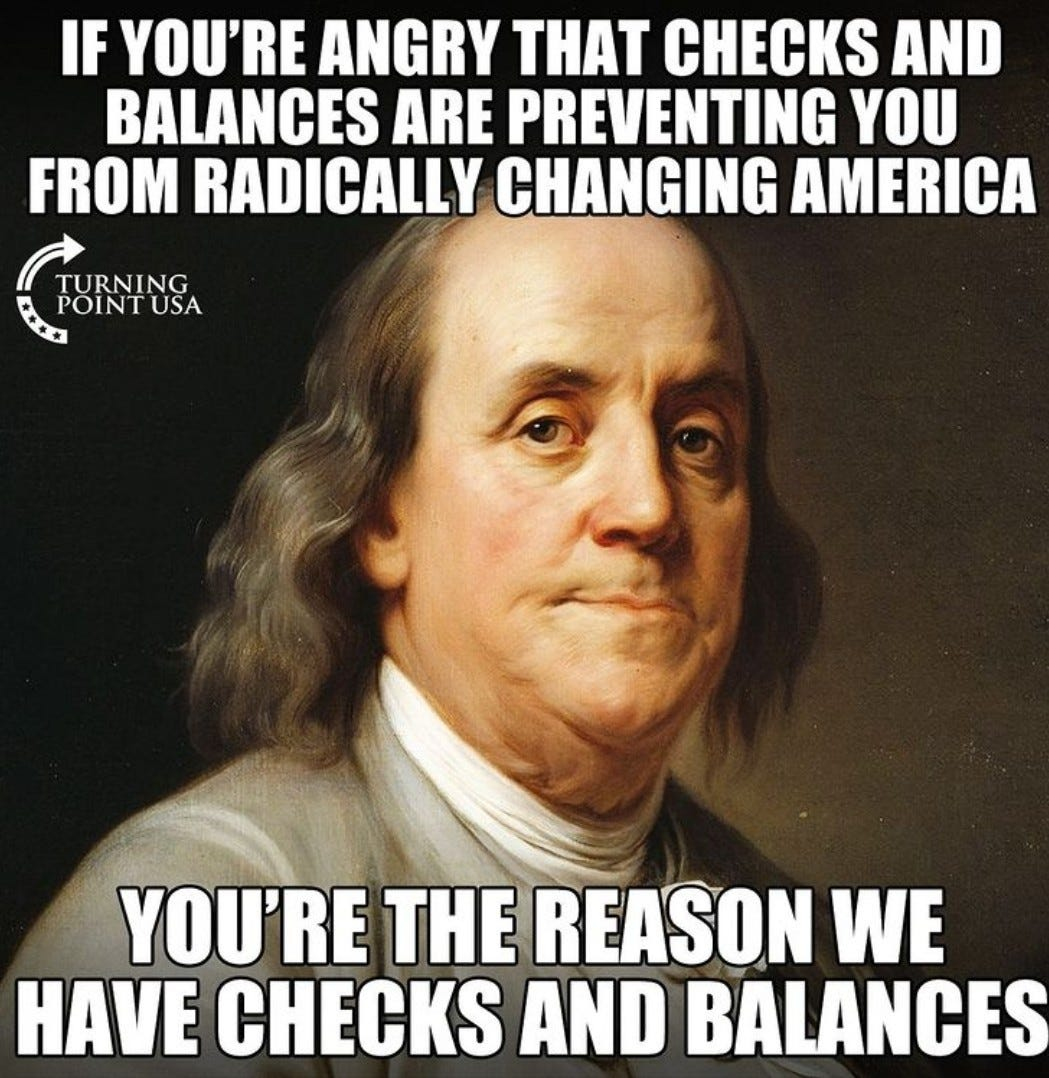 May be an image of 1 person and text that says 'IF YOU'RE ANGRY THAT CHECKS AND BALANCES ARE PREVENTING YOU FROM RADICALLY CHANGING AMERICA TURNING E POINTUSA YOU'RE THE REASON WE HAVE CHECKS AND BALANCES'