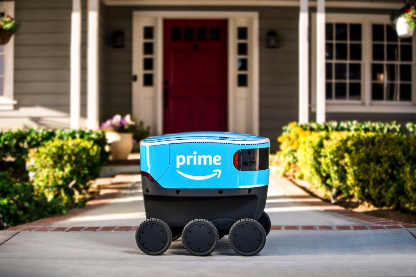 A self-driving delivery robot that Amazon is calling Scout. (Amazon/AP)