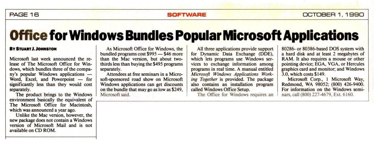 """Headling from October 1, 1990 """"Office for Windows Bundles Popular Microsoft Applications"""""""