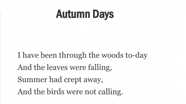 """The first stanza of """"Autumn Days"""""""