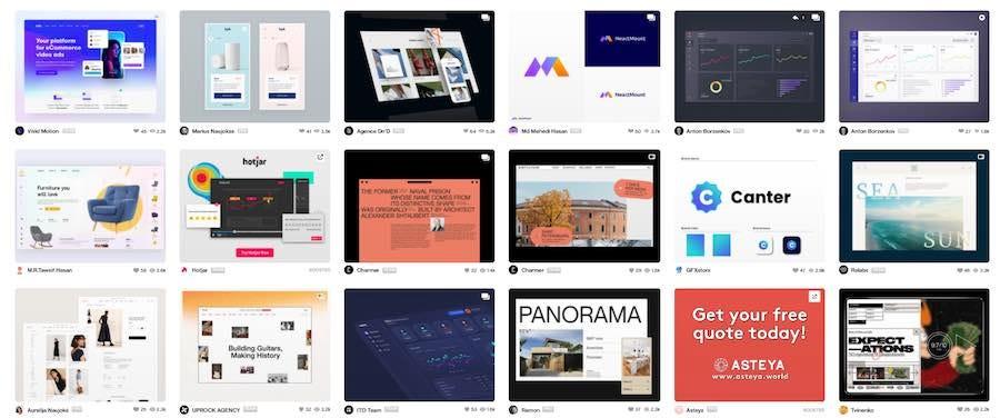 Product Design portfolios thumbnails on Dribbble