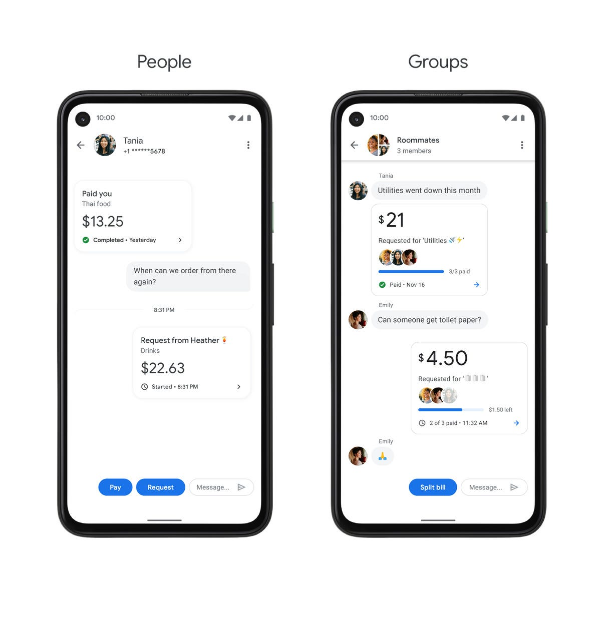 Google organizes peer-to-peer payments into chat interfaces.
