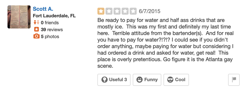 This claim on Ten Atlanta's Yelp page hasn't been corroborated, but it's kinda funny tho isn't it?