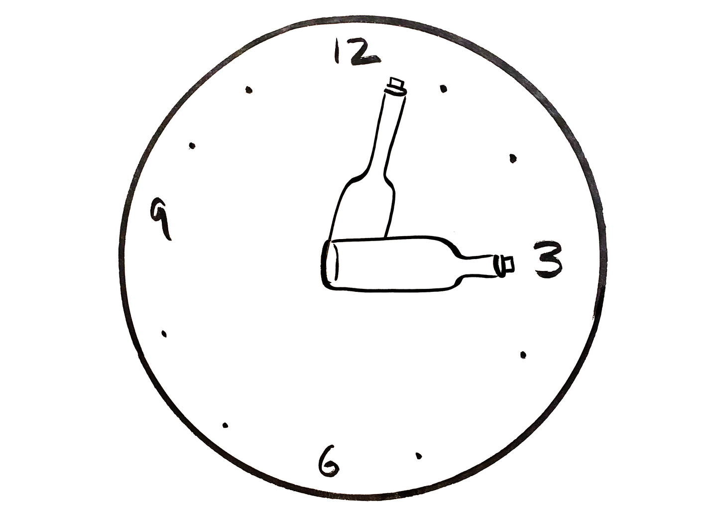 A clock where the hour and minute hands are wine bottles