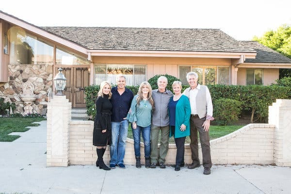 """A Very Brady Renovation"" aims to restore a pop cultural artifact that never actually existed, with, from left, Maureen McCormick, Christopher Knight, Susan Olsen, Mike Lookinland, Eve Plumb and Barry Williams."