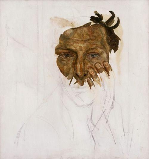 Self-Portrait (234): Lucian Freud - Unfinished self portrait, 1956 ...
