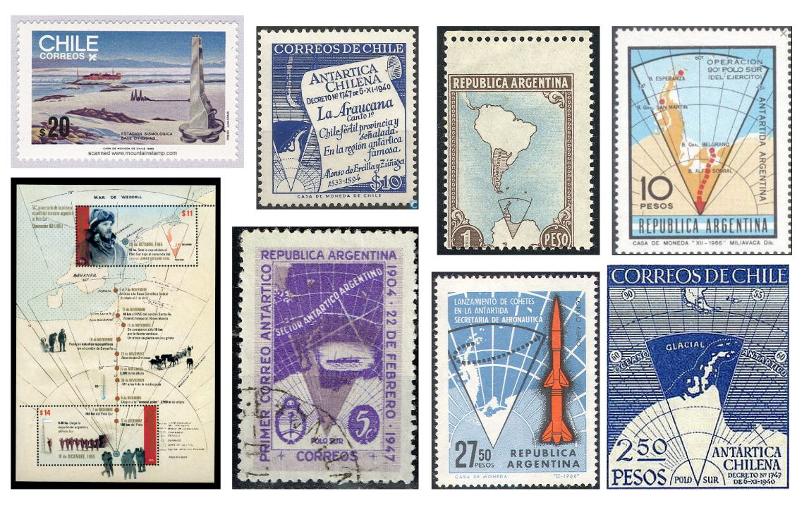 Eight stamps from Chile and Argentina showing their claims to Antarctic territory.