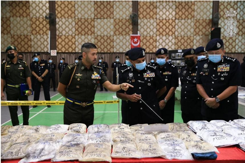 The items that were seized included 3.2 tonnes of Ecstasy powder, 26.1kg of liquid Ecstasy and 117kg of Eramin 5 powder.