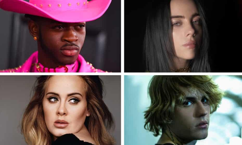 New routes to fame … clockwise from top right, Lil Nas X, Billie Eilish, Justin Bieber and Adele.