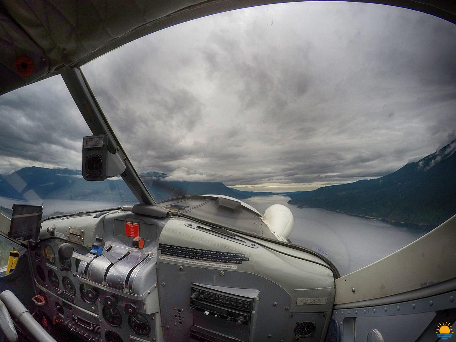 View of Sechelt Inlet from the seaplane cockpit as we fly back from dinner.