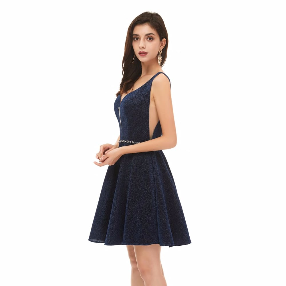 1790342829 Navy Blue A Line Short Cocktail Dresses 2020 Sexy Deep V Neck Sleeveless Formal Party Prom Gowns Sequined Robe Cocktail Femme Weddings Events Special Occasion Dresses