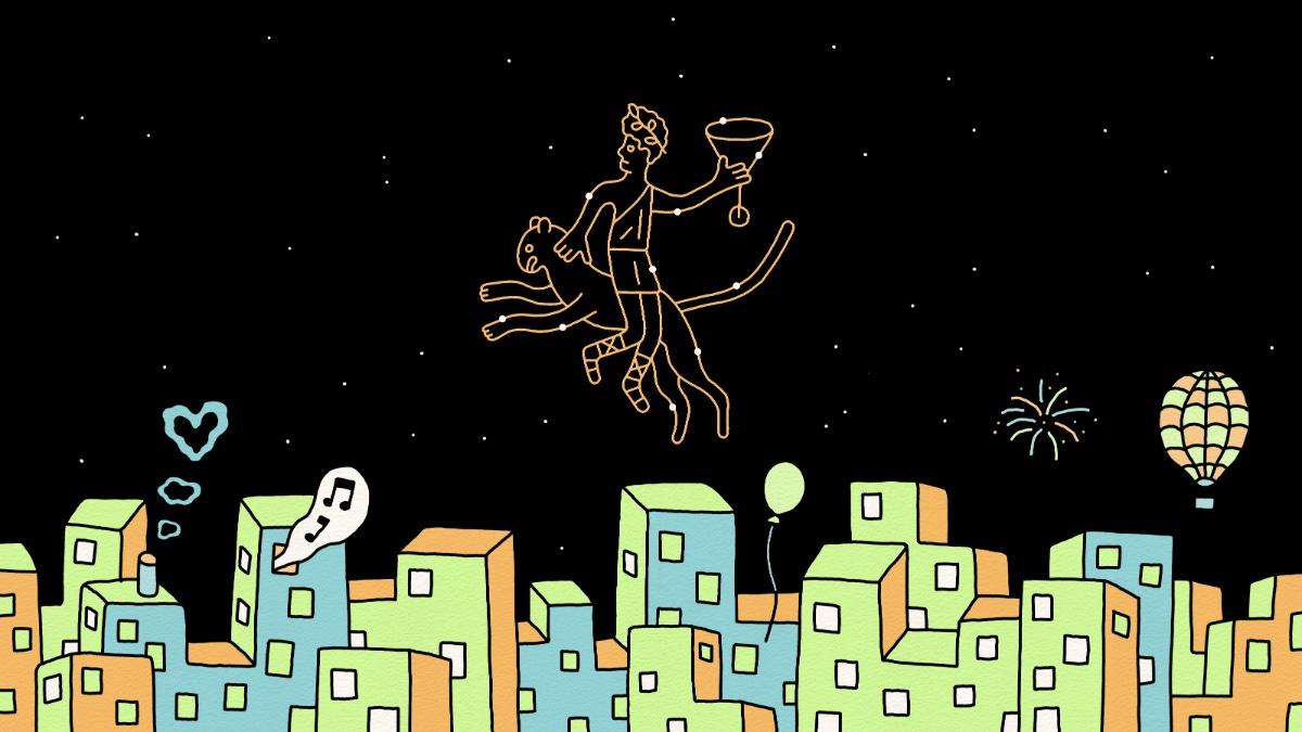 tekening van een stad in de nacht, je ziet een sterrenbeeld van bacchus