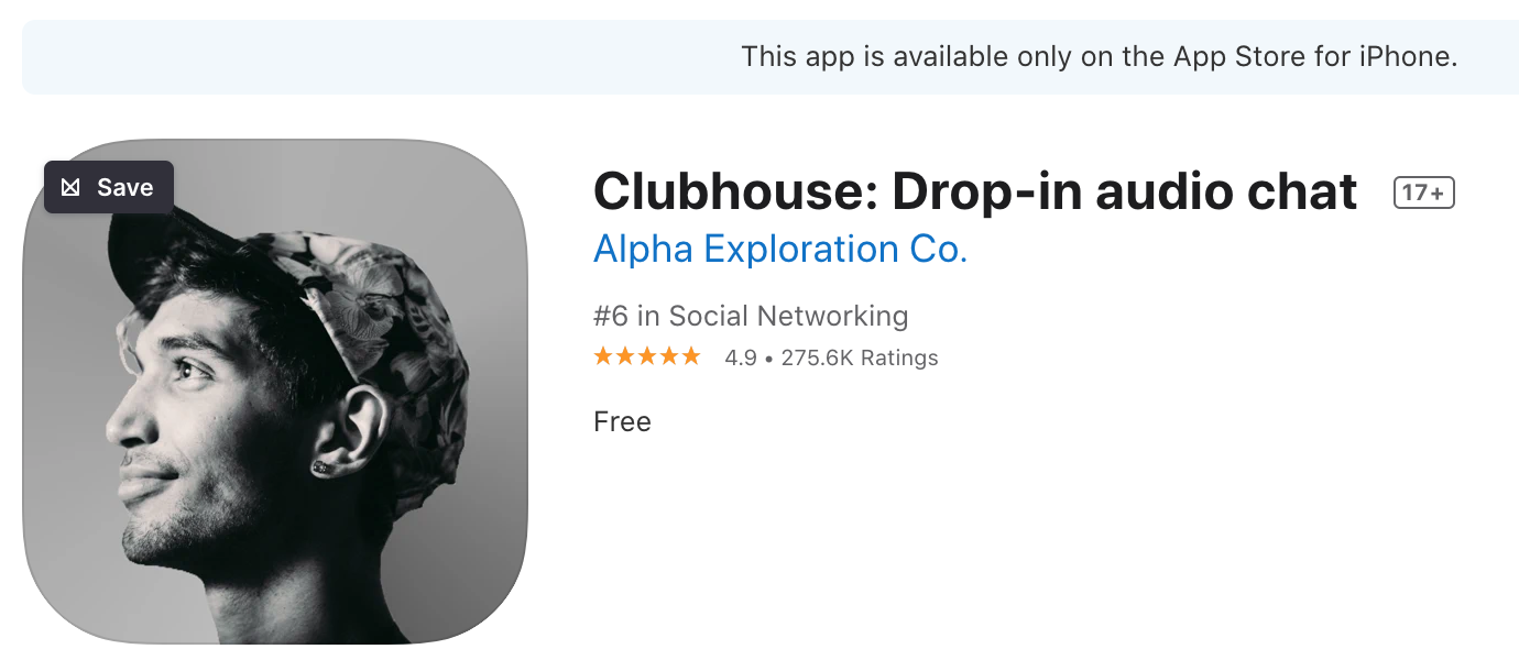 Screen shot de Clubhouse sur l'apple store