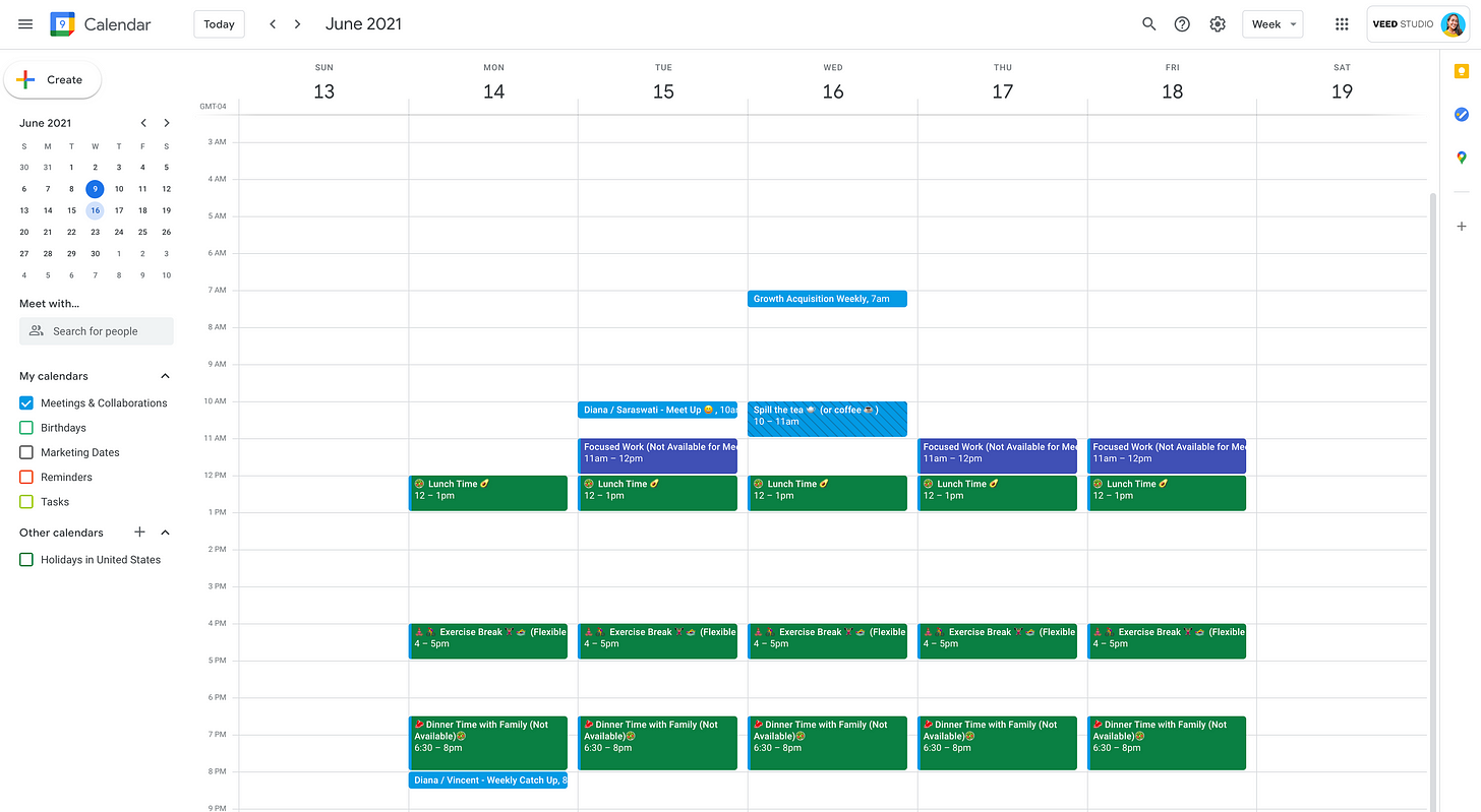 google calendar screenshot for the week of june 13th to june 19. There are booked slots to demonstrate time I am taking for myself before I accept any requests.