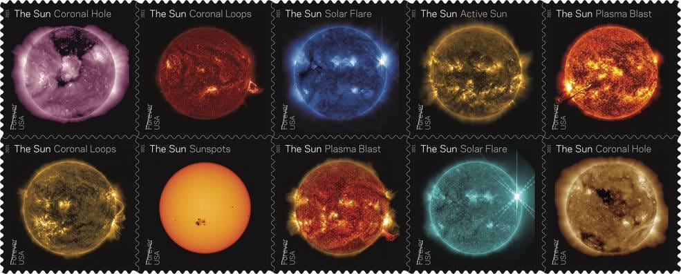 A set of 10 stamps showcase different views of solar activity in wavelengths of extreme ultraviolet light.