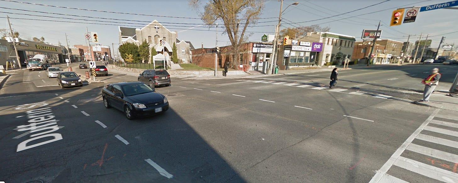 Google Streetview of Eglinton & Dufferin in 2016