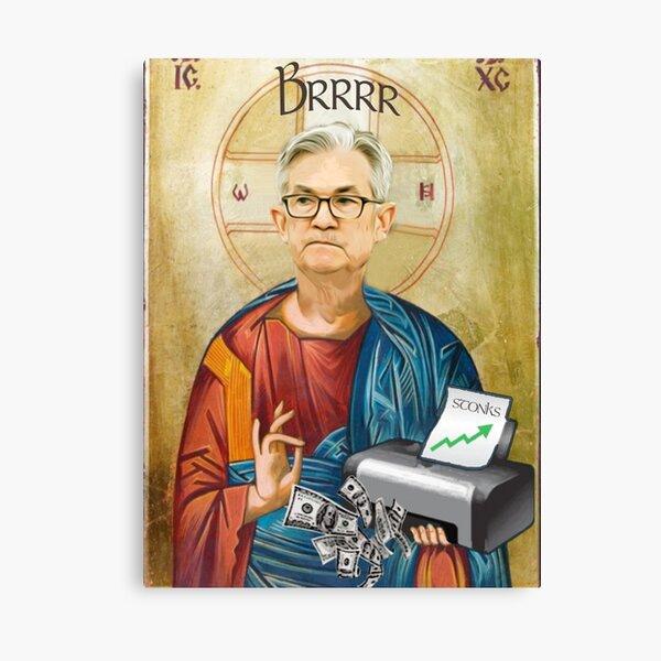 "Jerome Powell Jesus | JPow Jesus | Printer goes Brrr"" Canvas Print by  designdot | Redbubble"