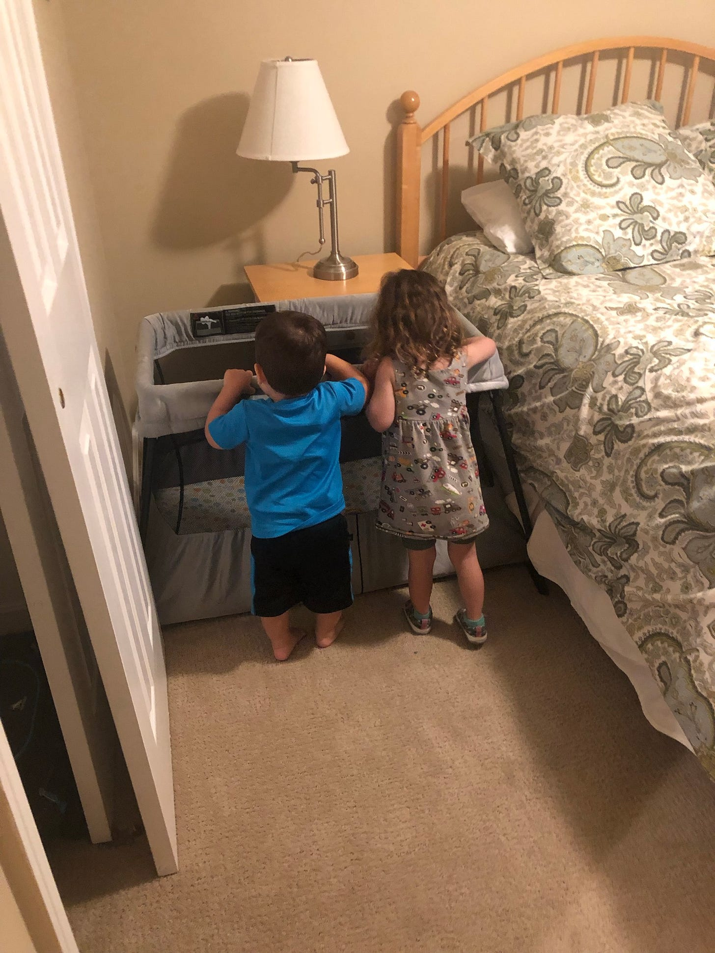 Photo of two toddlers leaning over a travel crib.