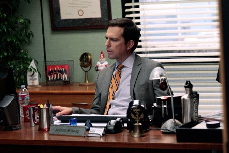 "THE OFFICE -- ""Jury Duty"" Episode 813 -- Pictured: Ed Helms as Andy Bernard  (Photo by Chris Haston/NBCU Photo Bank/NBCUniversal via Getty Images via Getty Images)"